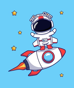 Милый космонавт с ракетой