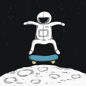 Cute astronaut with skateboard on the moon