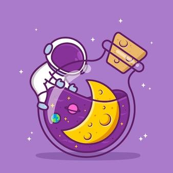병 안에 공간이 있는 귀여운 우주 비행사