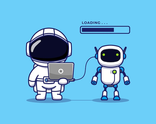 Cute astronaut with space robot