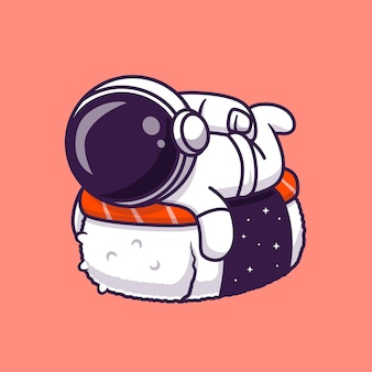 Cute astronaut with sushi salmon cartoon vector icon illustration. science food icon concept isolated premium vector. flat cartoon style