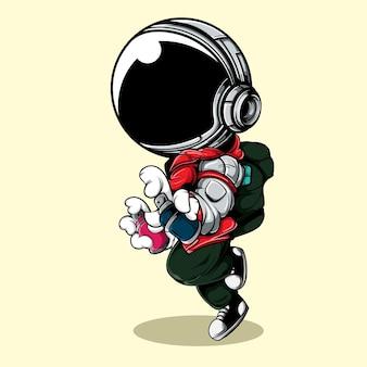 Милый астронавт с помощью городской улицы и спрей краски