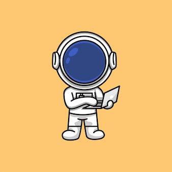 ノートパソコンの漫画イラストに取り組んでいるかわいい宇宙飛行士