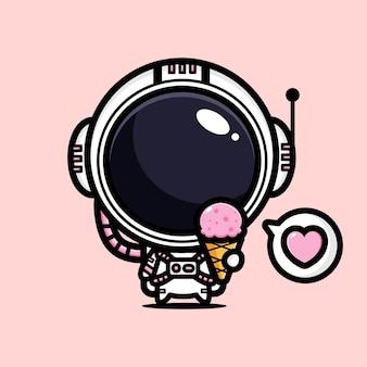 귀여운 우주 비행사 프리미엄 벡터