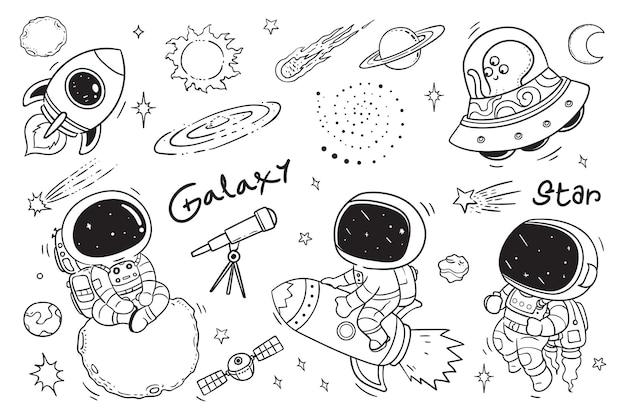Cute astronauts doodle for kids