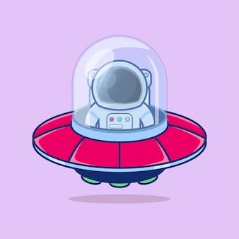 Cute astronauts flying on ufo cartoon