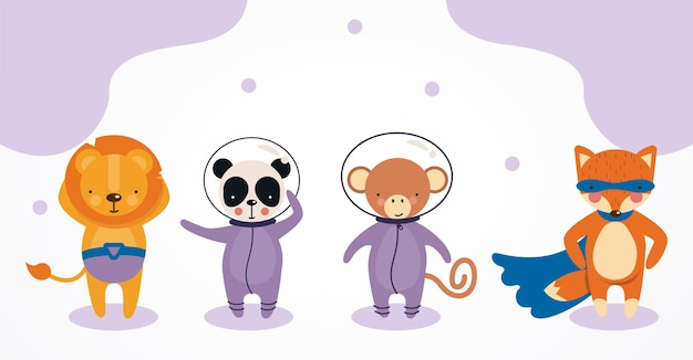 Cute astronauts and heros animals