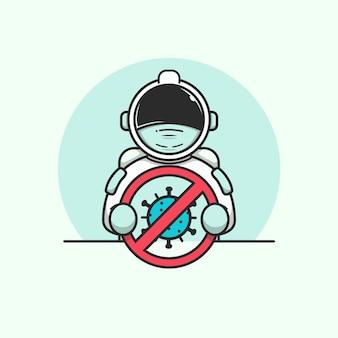 停止コロナウイルスサインイラストを保持しているかわいい宇宙飛行士