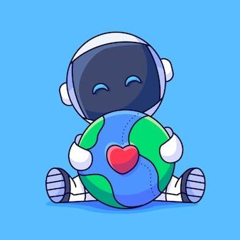 地球を抱きしめるかわいい宇宙飛行士地球を抱きしめる幸せな宇宙飛行士愛を込めて地球を抱きしめるかわいい宇宙飛行士