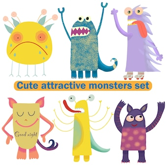 Cute attractive monsters set for print design. symbol collection. cute monster collection. happy kids cartoon collection. people icon set. hand drawing. funny cartoon character. white background
