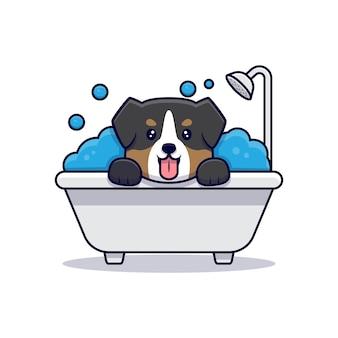 Милый мультфильм австралийской овчарки с пузырьковой ванной