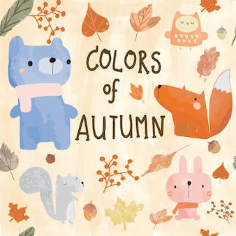 Cute autumn animal