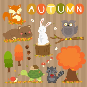 Cute autumn animals vector collection. autumn season animals