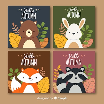 Cute autumn background set with animals