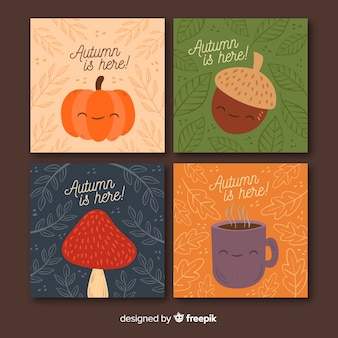 Cute autumn background set