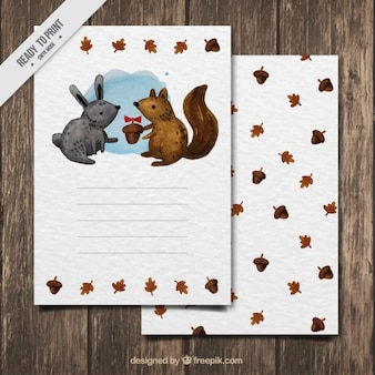 Cute autumn card of watercolorrabbit and squirrel