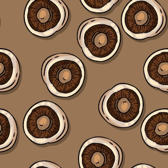 Cute autumn champignons mushrooms seamless pattern.