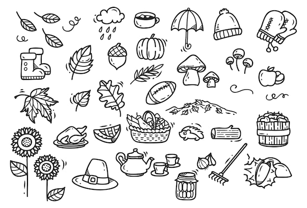Cute autumn doodles isolated on white background