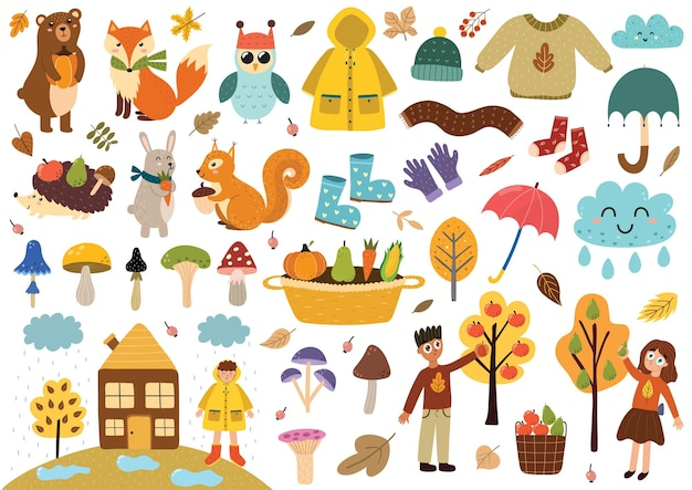 Cute autumn elements collection fall clothes animals leaves mushrooms kids and more