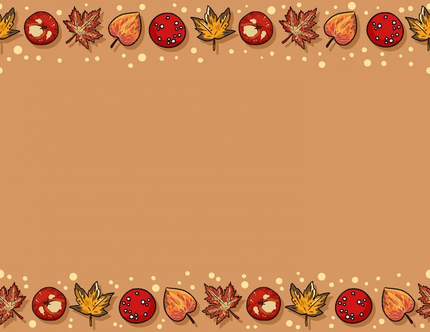 Cute autumn elements and leaves seamless pattern.