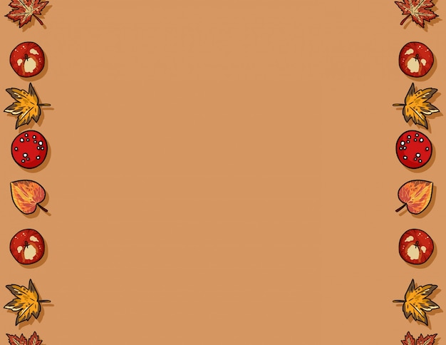 Cute autumn elements seamless pattern frame