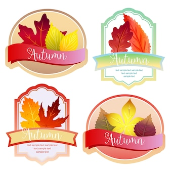 Cute autumn forest leaves label