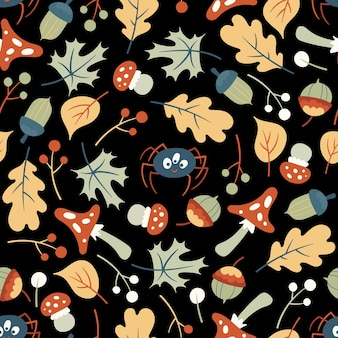 Cute autumn forest pattern. flat vector illustration with leaves, mushrooms, wild flowers and funny spiders. seamless texture for kid design.