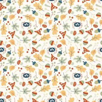 かわいい秋の森のシームレスなパターン。葉、キノコ、野生の花と面白いクモとフラットベクトルイラスト。子供のデザインのための無限のテクスチャ。