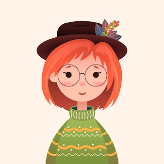 Cute autumn girl in a sweater and hat