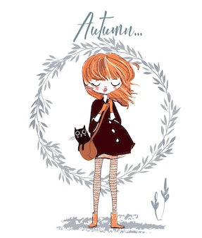 Cute autumn girl with cat on her bag