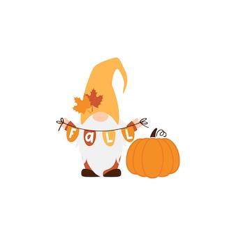 Cute autumn gnomes vector illustration on white