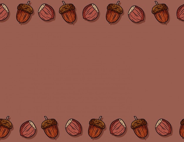 Cute autumn hazelnuts and acorns cartoon seamless pattern. fall decoration background texture tile