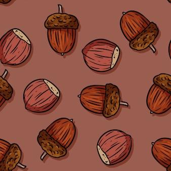 Cute autumn hazelnuts and acorns cartoon seamless pattern.