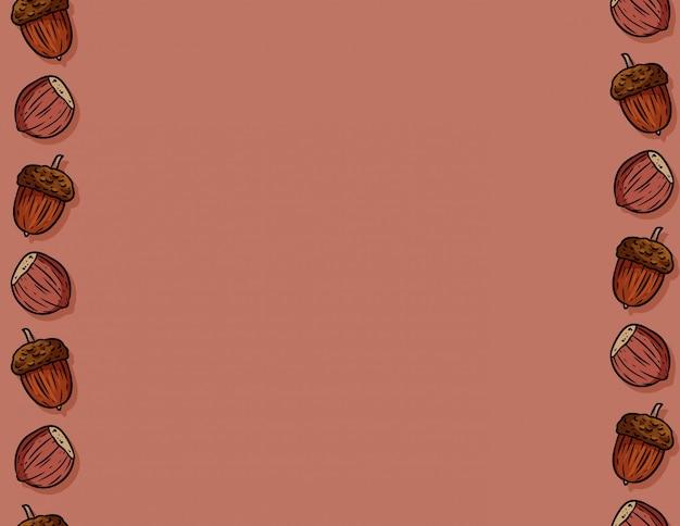 かわいい秋のヘーゼルナッツとドングリ漫画のシームレスパターン