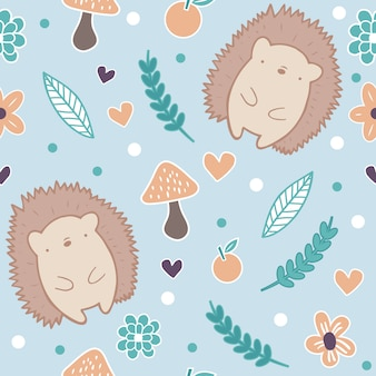Cute autumn hedgeogs seamless pattern