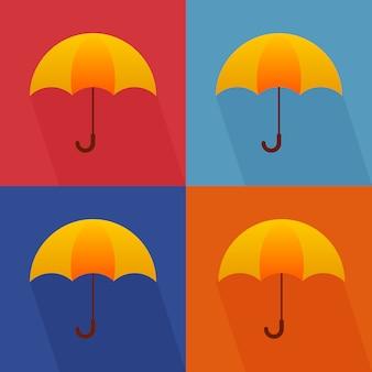 Cute autumn illustration of four umbrellas flat