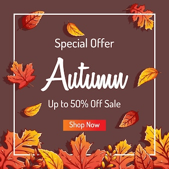 Cute autumn leaves background for shopping sale