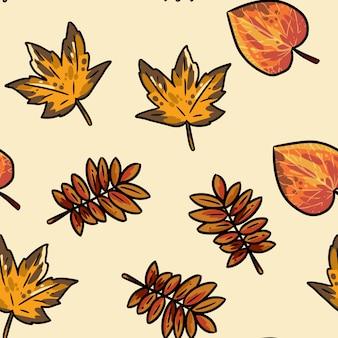 Cute autumn leaves cartoon seamless pattern.