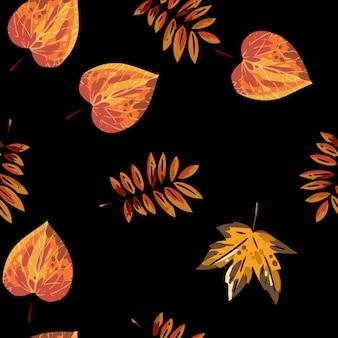 Cute autumn leaves cartoon seamless pattern