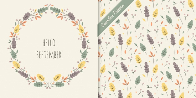 Cute autumn leaves frame and seamless pattern premium vector