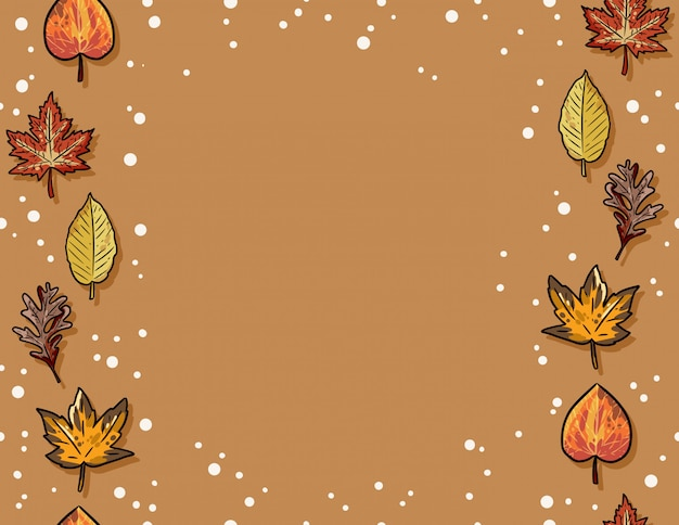 Cute autumn leaves seamless pattern. fall decoration frame background