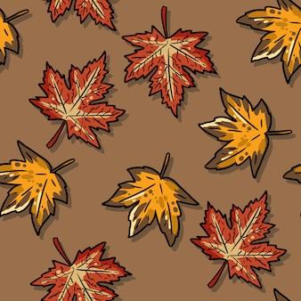 Cute autumn maple leaves cartoon seamless pattern.