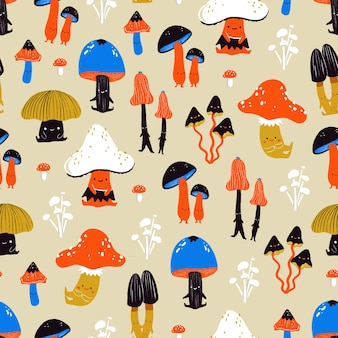 Симпатичные осенние грибы - иллюстрированный бесшовный фон