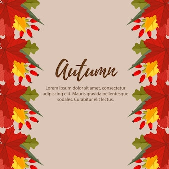 Cute autumn nature leaves border background