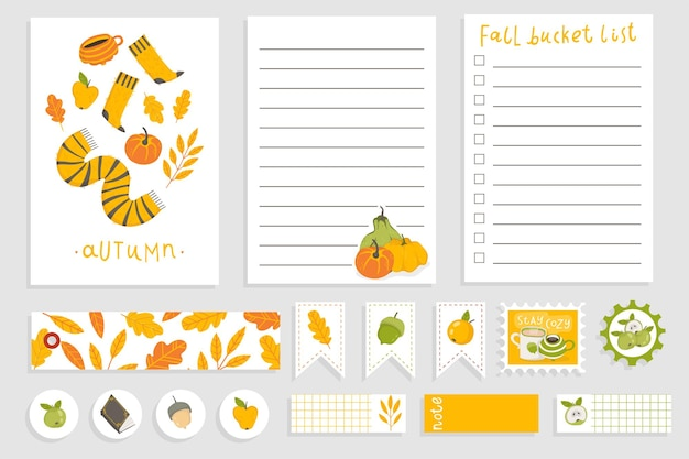 Cute autumn notebook design daily planner template