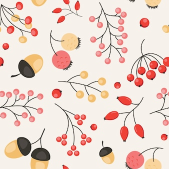 Симпатичный осенний узор с ягодами и желудями. осенний сезон бесшовный фон