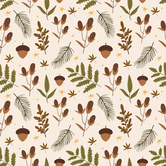 Cute autumn pattern with forest plants acorns cones leaves christmas tree branch autumn mood