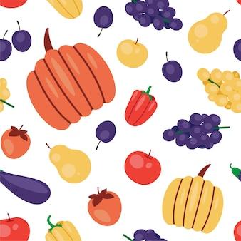 Симпатичный осенний образец с фруктами и овощами. осенний сезон бесшовный фон