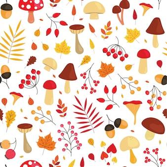 Симпатичный осенний образец с листьями, грибами, желудями и ягодами. осенний сезон бесшовный фон