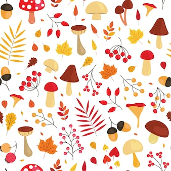 Cute autumn pattern with leaves, mushrooms, acorns and berries. fall season seamless background